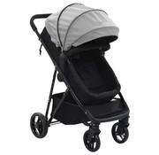 vidaXL Kinderwagen/buggy 2-in-1 staal grijs en zwart