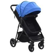 vidaXL Kinderwagen/buggy 2-in-1 staal blauw en zwart
