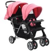 vidaXL Dubbele kinderwagen staal roze en zwart