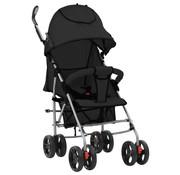 vidaXL Kinderwagen/buggy 2-in-1 inklapbaar staal zwart