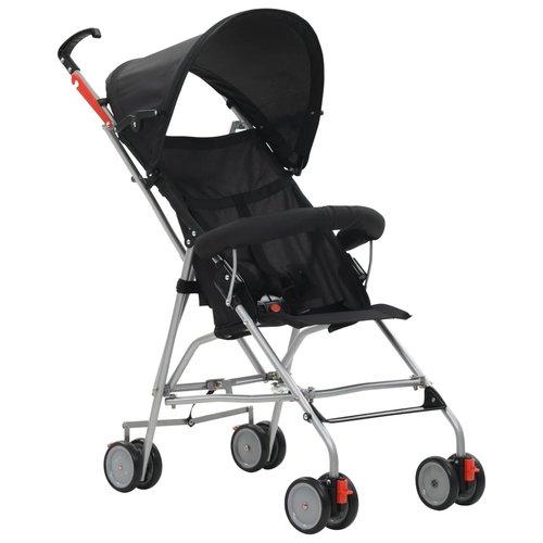 vidaXL Kinderwagen inklapbaar staal zwart