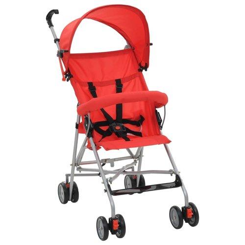 vidaXL Kinderwagen inklapbaar staal rood
