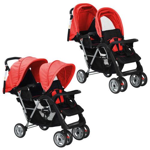 vidaXL Dubbele kinderwagen staal rood en zwart