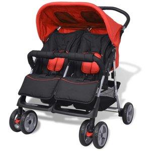 vidaXL Tweelingkinderwagen staal rood en zwart