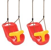 vidaXL Babyschommels 2 st met veiligheidsgordel PP rood
