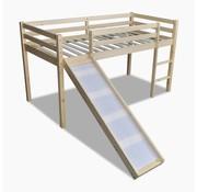 vidaXL Kinderhoogslaper met glijbaan en ladder hout naturel