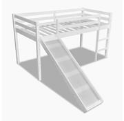 vidaXL Kinderhoogslaper met glijbaan en ladder hout wit