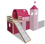 vidaXL Kinderhoogslaper met glijbaan en ladder hout roze