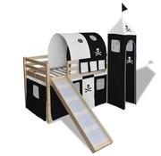 vidaXL Kinderhoogslaper met glijbaan en ladder hout zwart wit