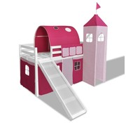 vidaXL Kinderhoogslaper met glijbaan en ladder hout wit roze