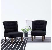 vidaXL Franse stoel stof zwart