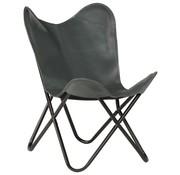 vidaXL Vlinderstoel kinderformaat echt leer grijs
