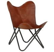 vidaXL Vlinderstoel kinderformaat echt leer bruin