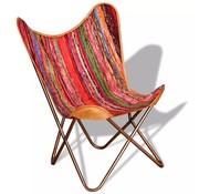 vidaXL Vlinderstoel chindi meerkleurig stof