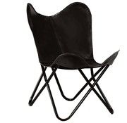 vidaXL Vlinderstoel kinderformaat echt leer zwart