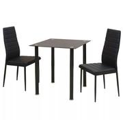 vidaXL Eetkamerset tafel en stoel zwart 3-delig