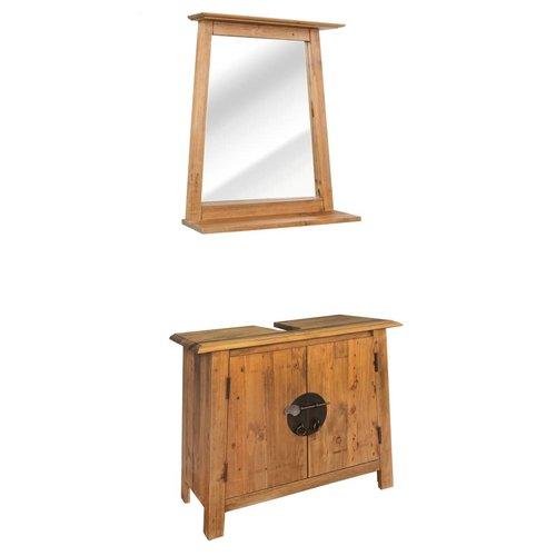 vidaXL Badkamer meubelset gerecycled massief grenenhout