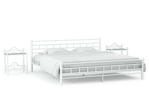 vidaXL Bedframe met twee nachtkastjes metaal wit 180x200 cm