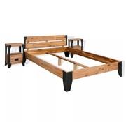 vidaXL Bedframe met 2 nachtkastjes 140x200 cm acaciahout en staal