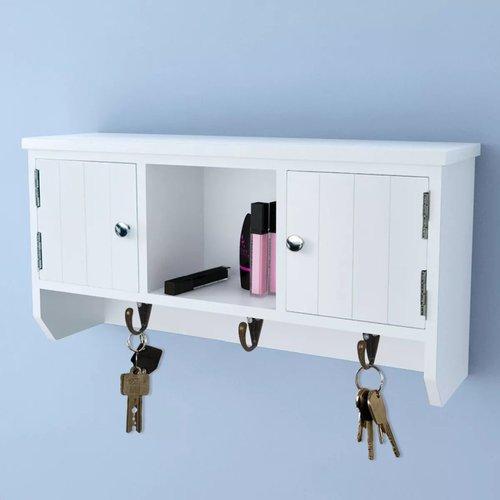 vidaXL Wandkastje voor sleutels en sieraden met deurtjes en haken