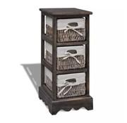 vidaXL Opbergkast met 3 manden hout bruin
