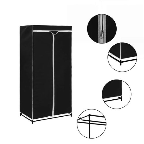 vidaXL Kledingkast 75x50x160 cm zwart