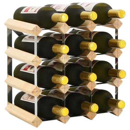 vidaXL Wijnrek voor 12 flessen massief grenenhout