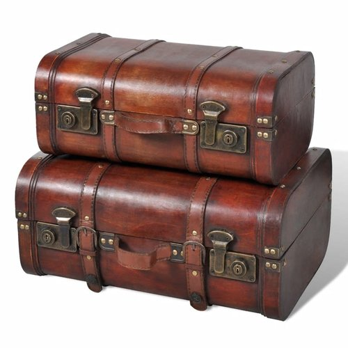 vidaXL Schatkist vintage-stijl hout bruin 2 st