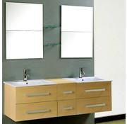 vidaXL Flexibele badmeubelset met dubbele wastafel, kraan en spiegels ahorn