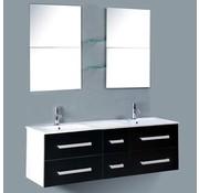 vidaXL Flexibele badmeubelset met dubbele wastafel, kraan en spiegels zwart