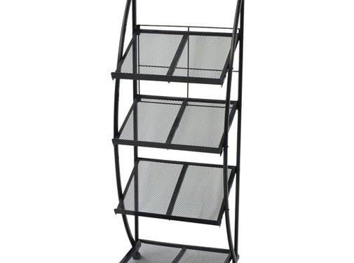 vidaXL Tijdschriftenrek zwart en wit 47x40x134 cm A4