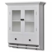 vidaXL Keuken wandrek met glazen deur wit
