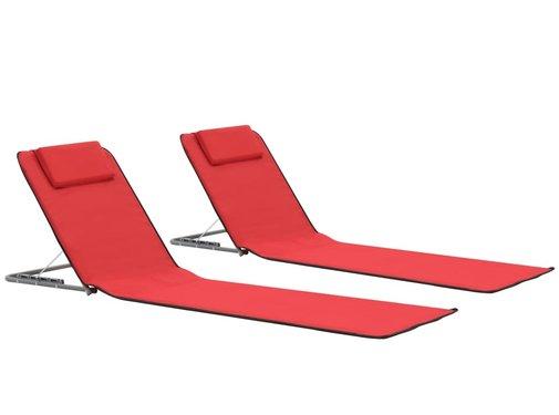 vidaXL Strandmatten inklapbaar 2 st staal en stof rood