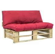 vidaXL Tuinbank pallet met rode kussens FSC grenenhout