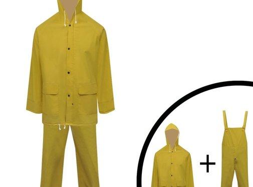 vidaXL Tweedelig regenpak waterbestendig met capuchon geel XL