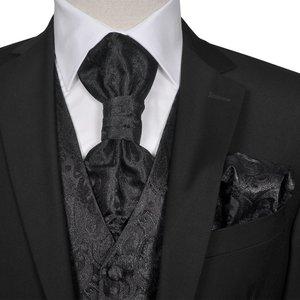 vidaXL Gilet set mannen paisleymotief bruiloft maat 56 zwart