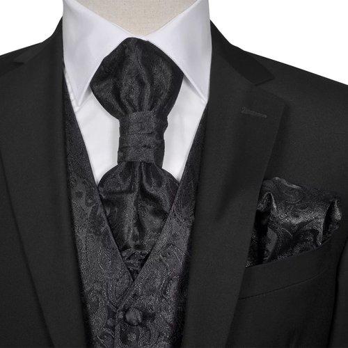 vidaXL Gilet set mannen paisleymotief bruiloft maat 54 zwart