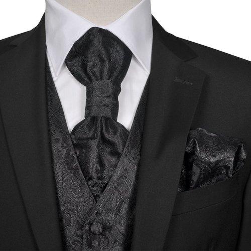 vidaXL Gilet set mannen paisleymotief bruiloft maat 50 zwart