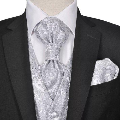 vidaXL Gilet set mannen paisleymotief bruiloft maat 50 zilver
