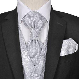 vidaXL Gilet set mannen paisleymotief bruiloft maat 48 zilver