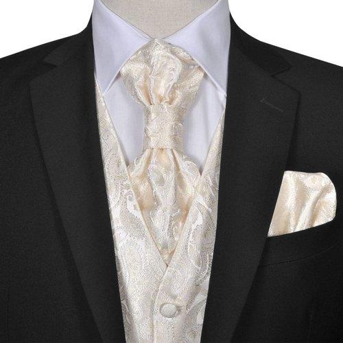 vidaXL Gilet set mannen paisleymotief bruiloft maat 56 crème