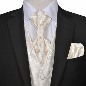 vidaXL Gilet set mannen paisleymotief bruiloft maat 54 crème