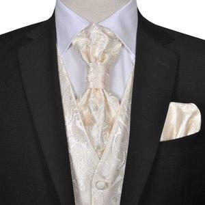 vidaXL Gilet set mannen paisleymotief bruiloft maat 50 crème