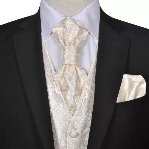 vidaXL Gilet set mannen paisleymotief bruiloft maat 48 crème