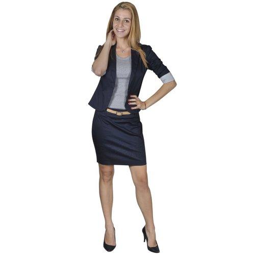 vidaXL Mantelpak met blazer en rok (maat 38 / marineblauw)