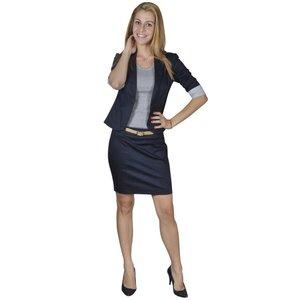 vidaXL Mantelpak met blazer en rok (maat 34 / marineblauw)