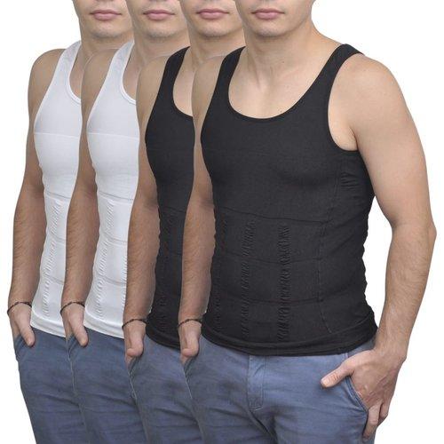 vidaXL Shapewear hemd voor mannen (zwart + wit / 4 stuks / maat XL)