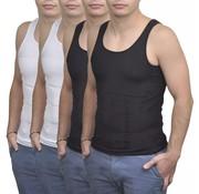 vidaXL Shapewear hemd voor mannen (zwart + wit / 4 stuks / maat L)