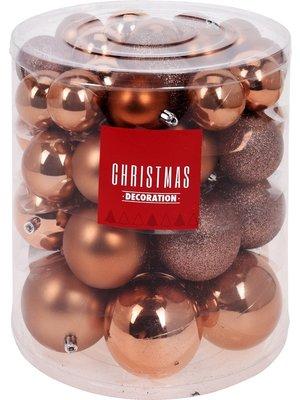 Christmas Decoration Kerstballenset - 44 stuks plastic - bruin