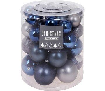 Christmas Decoration Kerstballenset - 44 stuks plastic - blauwgrijs
